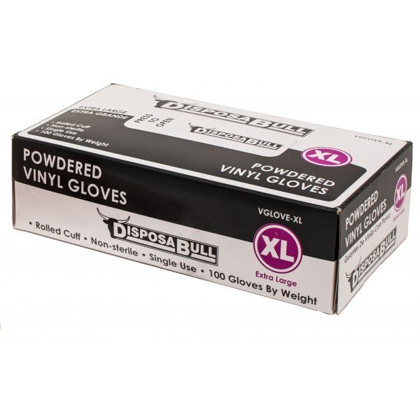 Extra Large Powdered Disposable Vinyl Gloves
