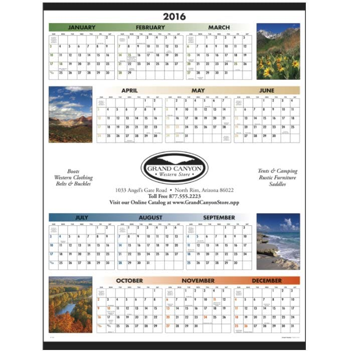 Norwood Promotional Products :: Product :: Scenic Span-A-Year Custom calendar sold by Distrimatics, USA
