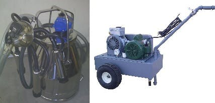 Deluxe Model milking machine for COWS with 1 Stainless (4 gal) bucket assemblies Milking machine sold by Simple Milking Equipment