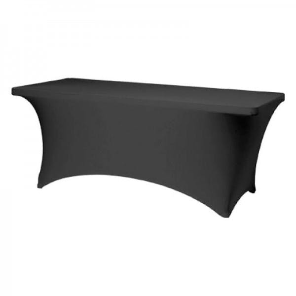 "30"" x 72"" Black Rectangular Budget Stretch Table Cover"