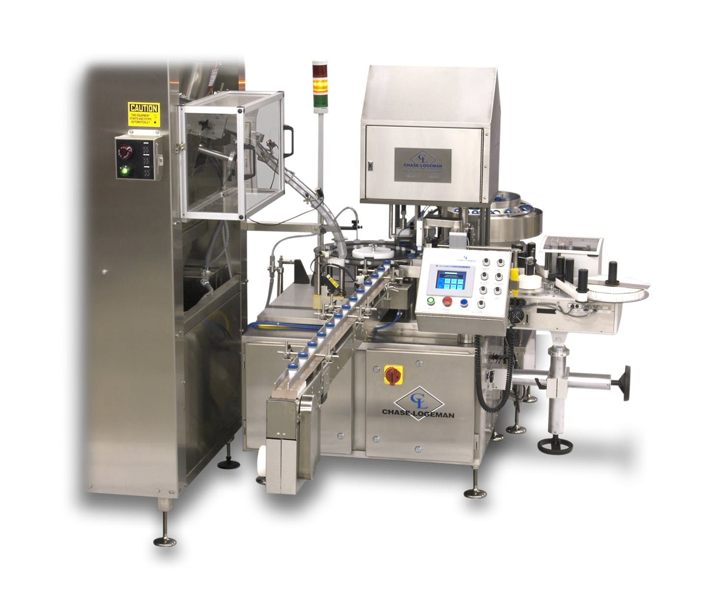 Filling and capping with bottle unscrambler and built in label application - Filling and Capping Machine - sold by Chase-Logeman Corporation