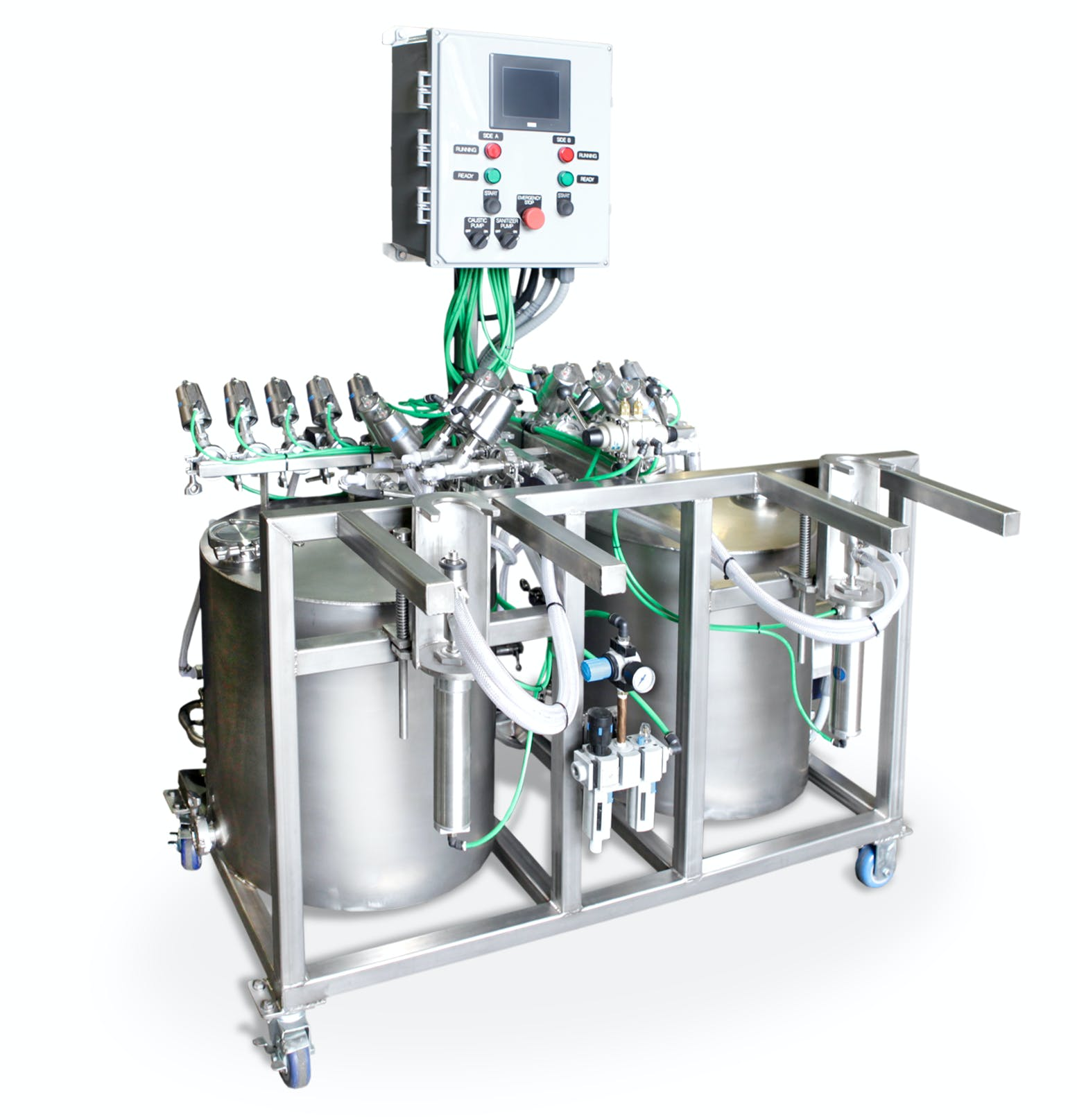 Dual head unit will clean approximately  40* kegs per hour.  - GSS Semi-Automatic Keg Washer — Dual Head - sold by Global Stainless Systems Inc.