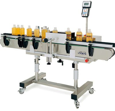 New CVC model 300 wraparound pressure sensitive labeler  Bottle labeler sold by Union Standard Equipment Co