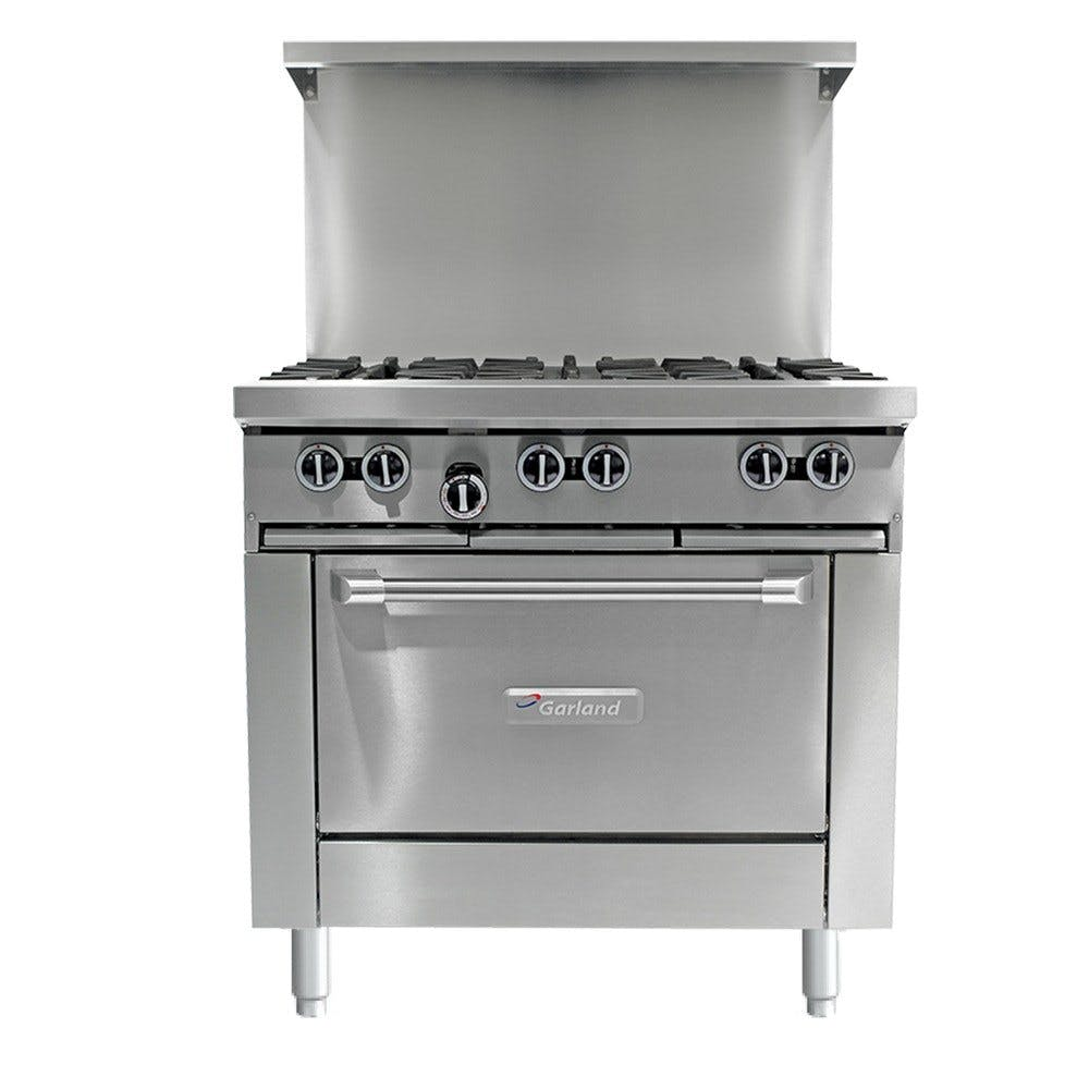 "Garland G36-6C 6 Burner 36"" Gas Range with Convection Oven - 236,000 BTU Commercial range sold by WebstaurantStore"