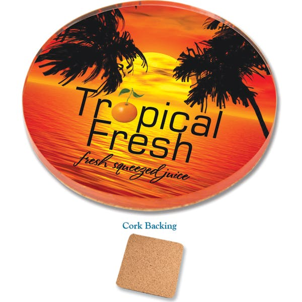 """Acrylic Coasters with Cork Backing 4"""" Round - Acrylic Coasters with Cork Backing - sold by Worldwide Ticket and Label"""