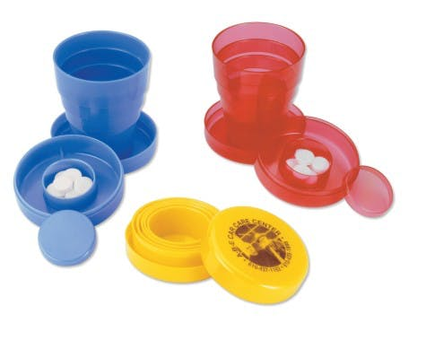 Collapsible Cup with Pill Holder (Item # QDFNU-JGLRV) Plastic cup sold by InkEasy