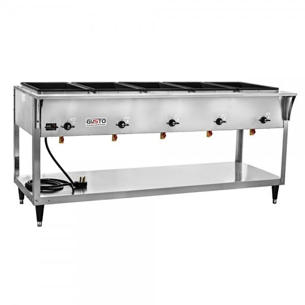 208/240v Electric 5 Well Stainless Steam Table