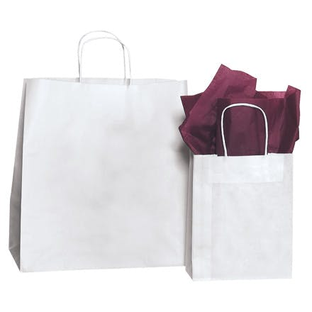 White Paper Shopping Bags Paper packaging sold by Ameripak, Inc.