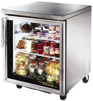 "True TUC-27G - 27.75"" Undercounter Glass Door Refrigerator - 1 Door Commercial refrigerator sold by Elite Restaurant Equipment"