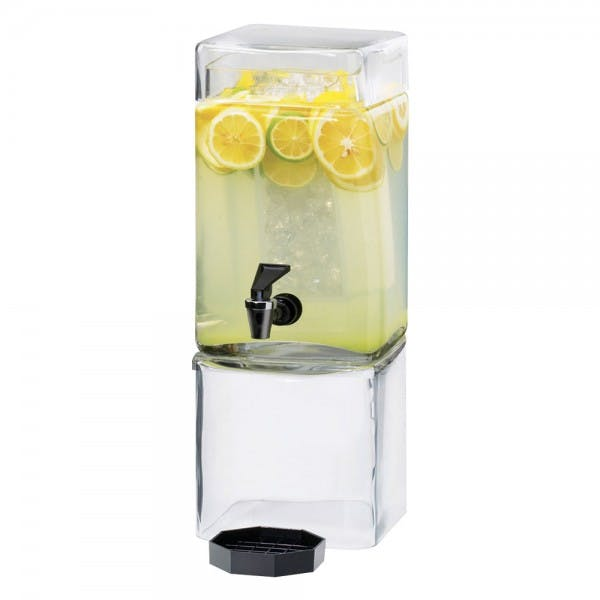 1.5 Gal. Square Glass Beverage Dispenser w/ Clear Base