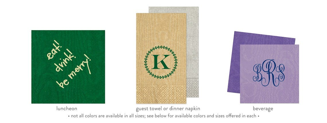 Moire Napkins (min. order 50) - Custom Napkins - sold by Cup of Arms