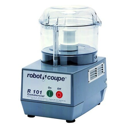 Robot Coupe R101 B CLR 2.5 Qt. Combination Food Processor With Clear Polycarbonate Bowl - 3/4 HP Single Speed Food processor sold by Mission Restaurant Supply