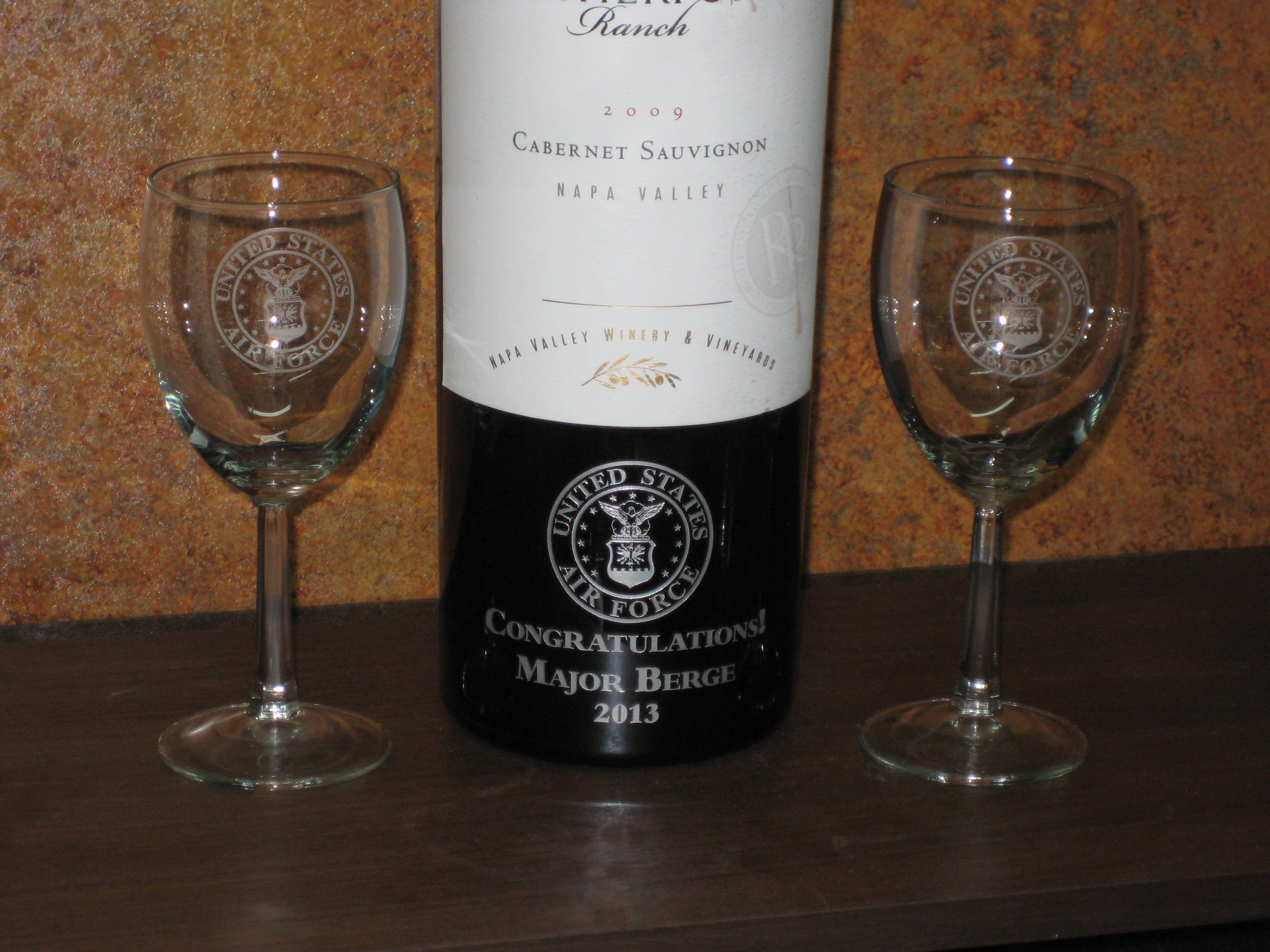 Wine Bottle Etching and Colorfill Bottle etching service sold by Bancheros Glass Etching Inc.