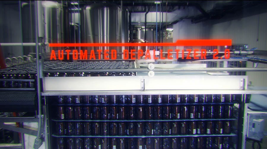Automated Depalletizer V2.0 Can filler sold by Cask Brewing Systems