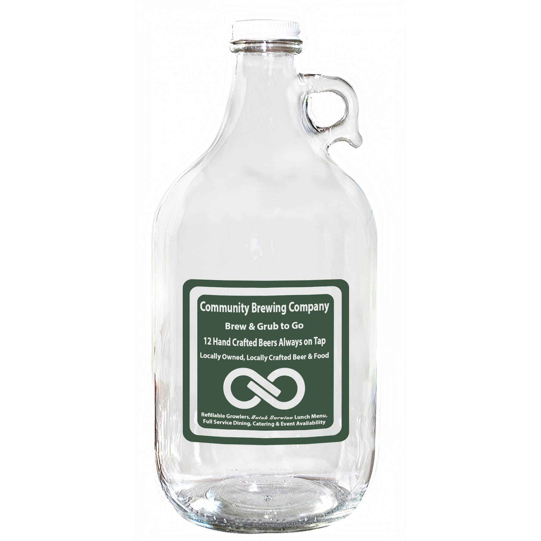 64 Oz. Clear Glass Growler Jug (Item # GDNNS-IOWHL) Growler sold by InkEasy