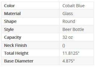 600004 Info Chart - Packaging Options Direct - 600004 - 32 oz Round Glass Cobalt Blue Beer Bottle - sold by Packaging Options Direct