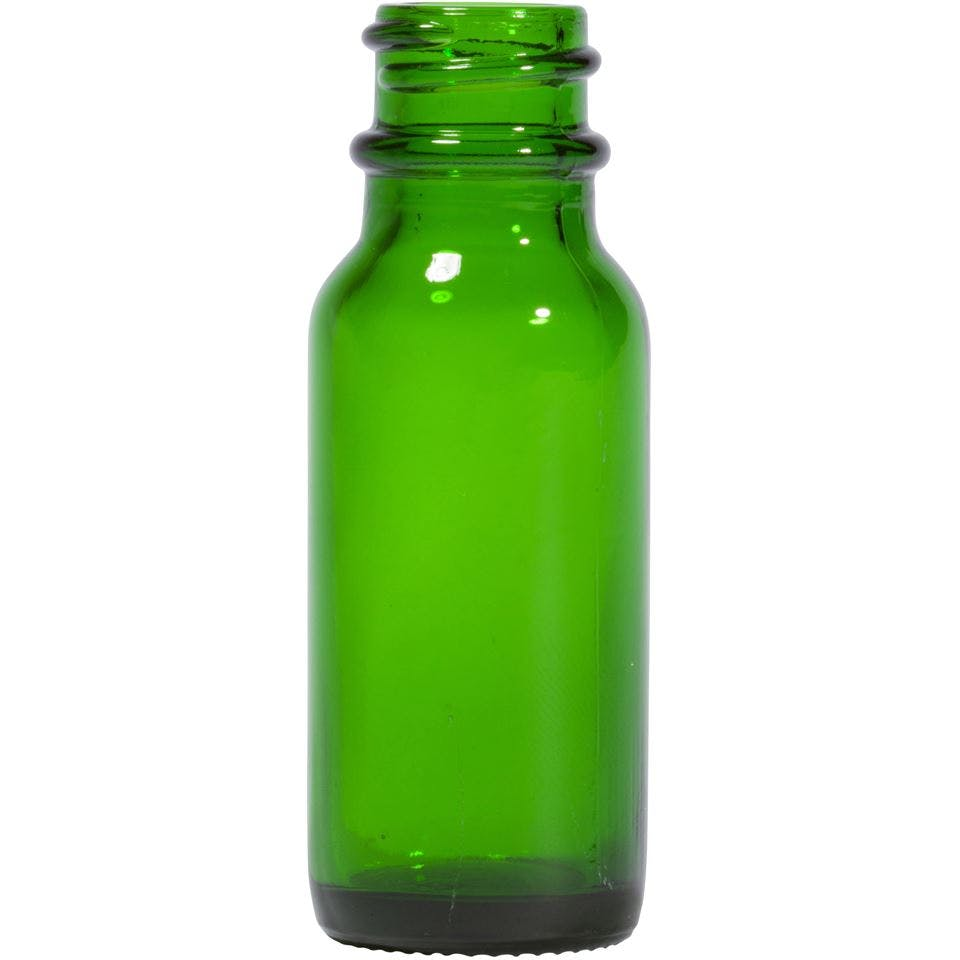 0.5 oz Round Glass Green Boston Round Bottle Glass bottle sold by Packaging Options Direct