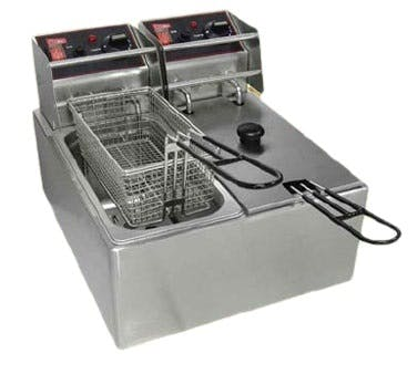 Grindmaster-Cecilware EL2x6 Split-Pot Electric Fryer (2 @ 6 lb fat capacity) Commercial fryer sold by pizzaovens.com