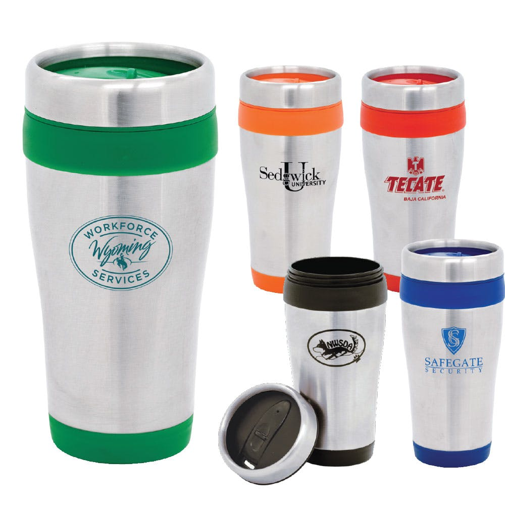 16 Oz. Stainless Steel Travel Mug (Item # YBHNT-HKUIS) Stainless steel mug sold by InkEasy