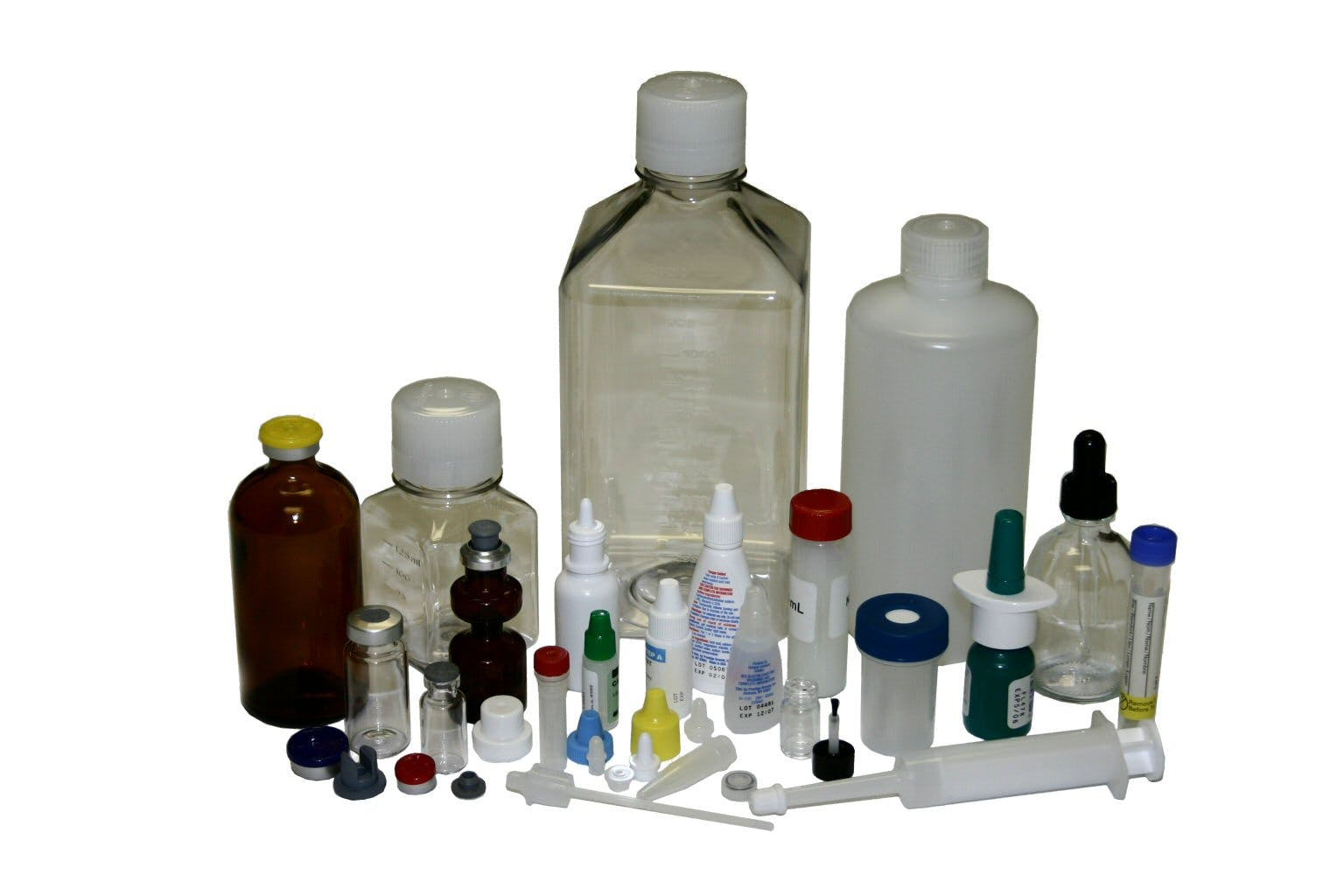Typical containers - Filling and Capping Machine - sold by Chase-Logeman Corporation
