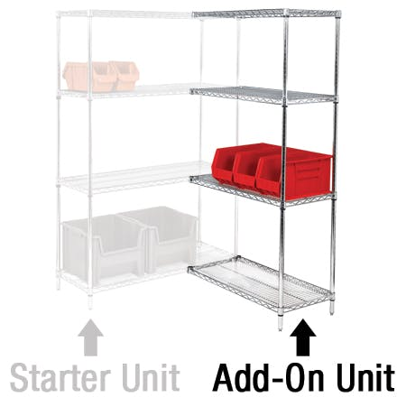 Wire Shelving Add-On Units Storage shelf sold by Ameripak, Inc.