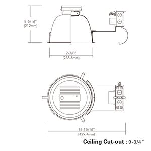 """9"""", Non-IC, Remodel Frame-in Kit Downlight with Interchangeable - sold by RelightDepot.com"""