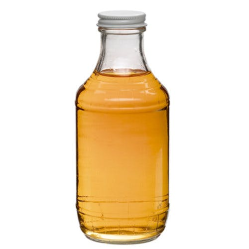 16 oz Clear Glass Decanters (Optional White Metal Cap) Glass bottle sold by Freund Container & Supply