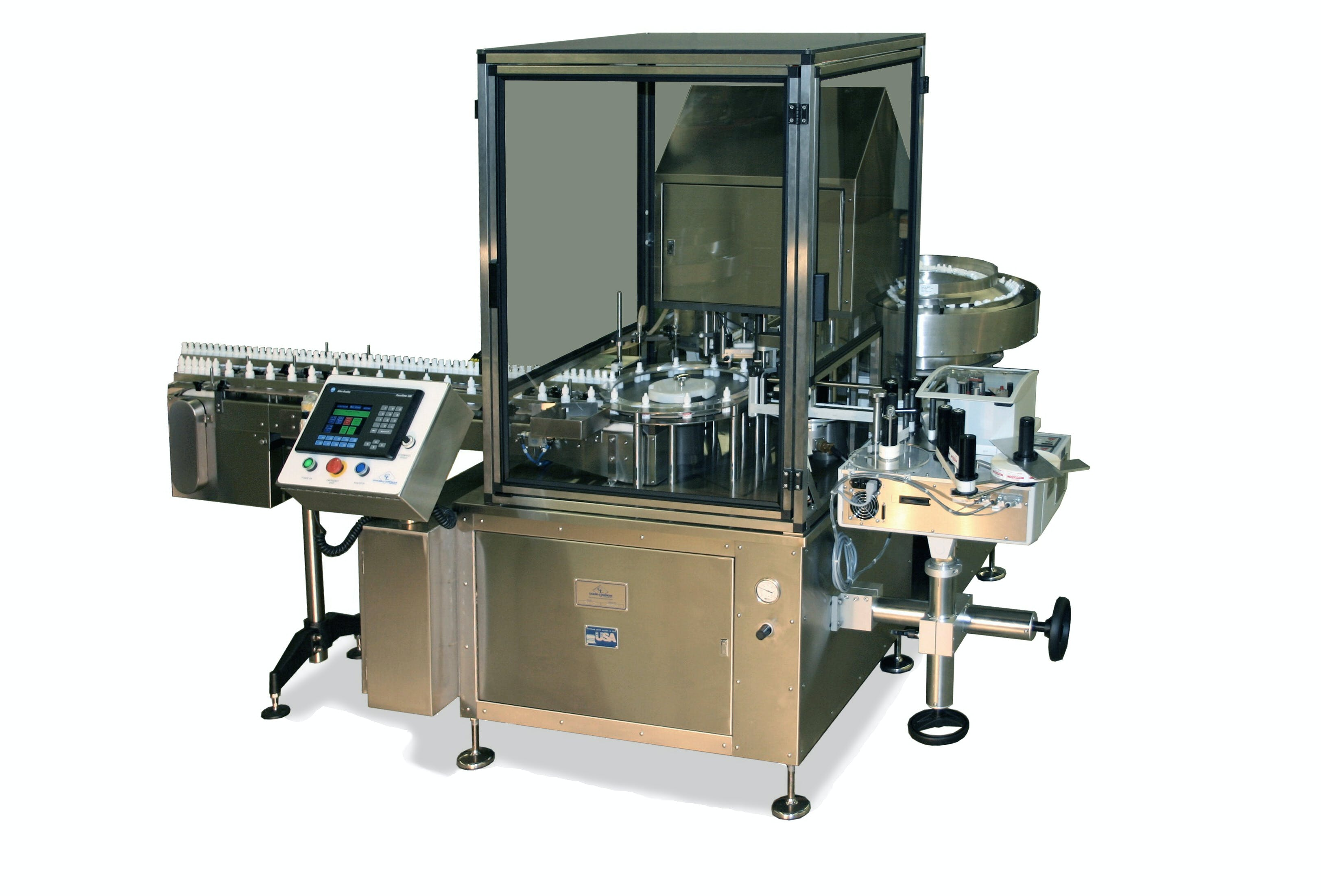 Filling Plugging, Capping machine with Label application - Filling Plugging and Capping - sold by Chase-Logeman Corporation