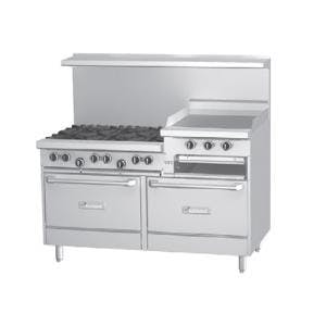 "Garland G60-6R24SS - 6 Burner Gas Range - (2) Storage Bases - 24"" Griddle / Broiler Commercial range sold by Elite Restaurant Equipment"