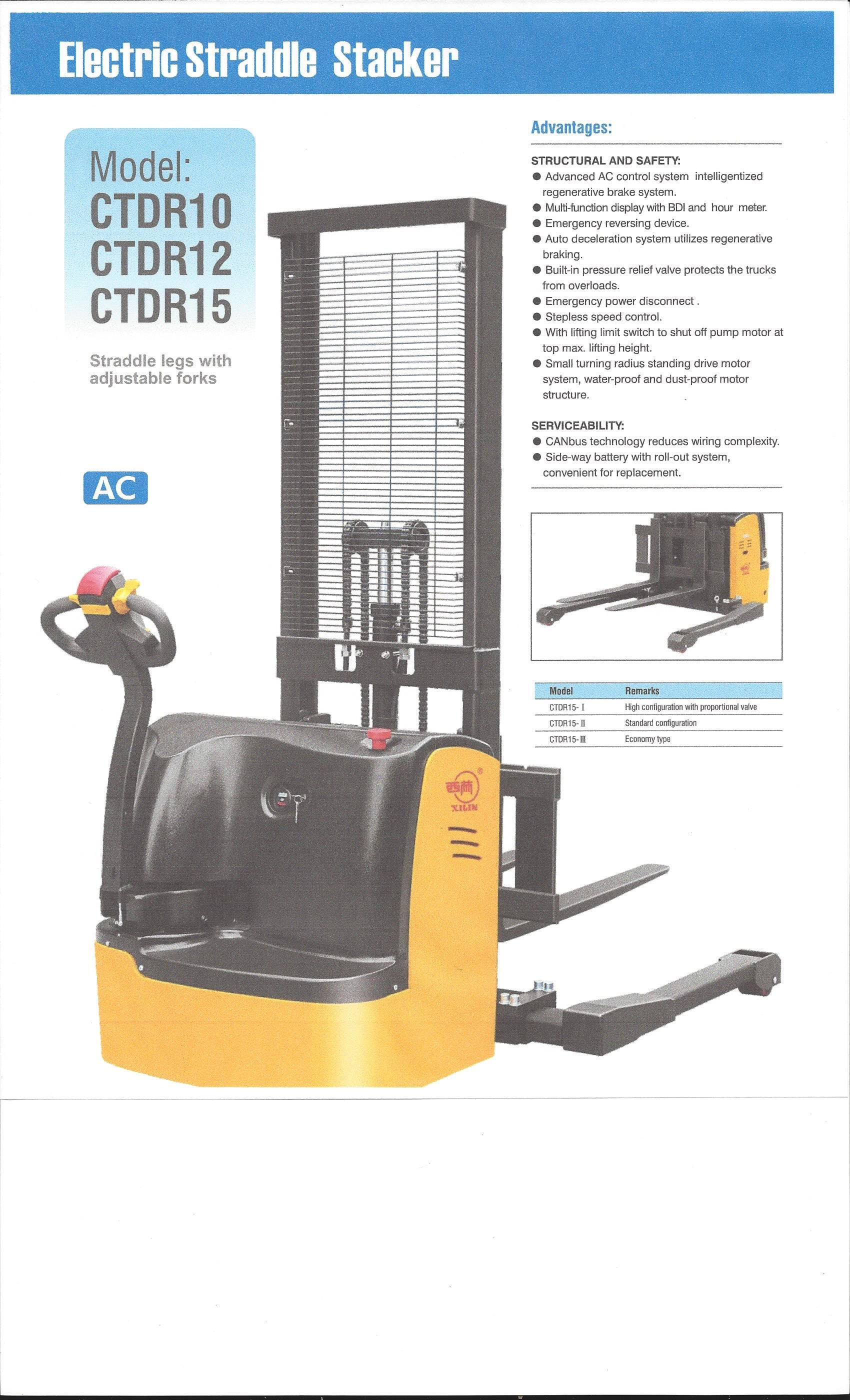 Straddle Stacker - CTDR10/12/15 - sold by CHERY FORKLIFT(NEW YORK) INC
