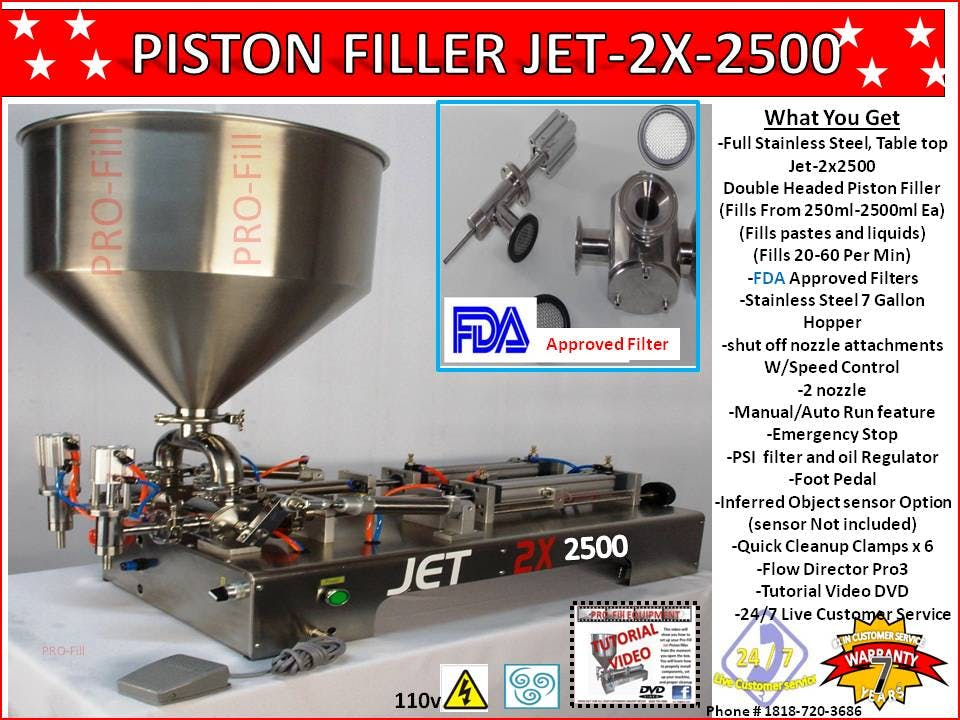 Jet-2x-2500 Double Head -Piston Filler -Air & Electric Fill Liquid, Paste, Oil, Gel, Peanut Butter, Salsa, hard alcohol, hand sanitizer, cosmetics, shampoo,lotion ,body butter Barrel sold by Pro Fill Equipment
