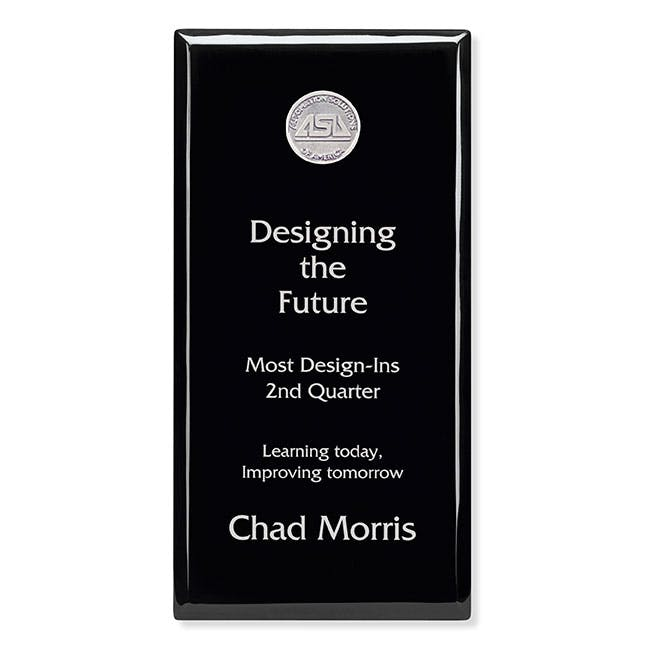 "Black Award Plaque - 6"" x 12"" by Jaffa® Award sold by Distrimatics, USA"