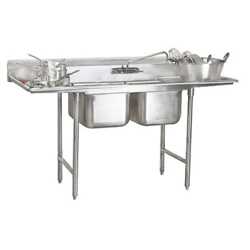 Advance Tabco 9-22-40-24RL Regaline Two Compartment Sink, Two Drainboards, 18/304 Stainless Steel, 93 Inches Sink sold by Mission Restaurant Supply