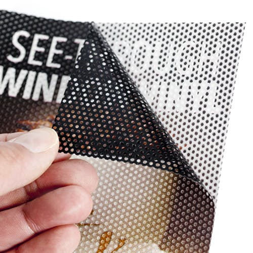 Edge To Edge Perforated Window Vinyl Adhesive film sold by Open Interface INC