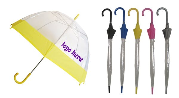 Eco Friendly Clear Umbrella with Trim (Item # VAJQQ-GWBLP) Umbrella sold by InkEasy