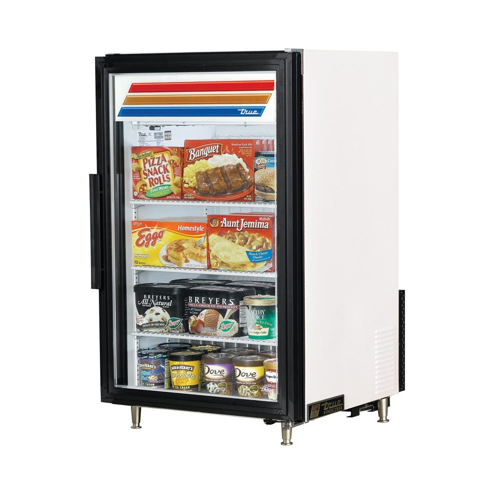 True Manufacturing GDM-7F-LD Countertop Glass Door Freezer, 1 Door, 7 Cu. Ft., LED Commercial freezer sold by Mission Restaurant Supply