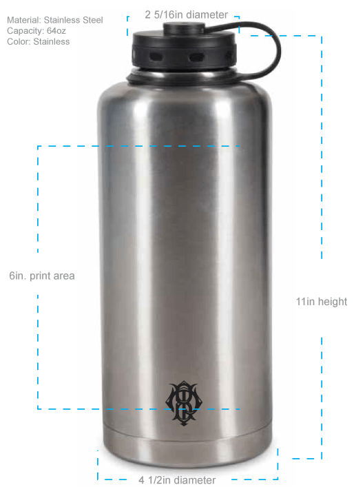 64oz Stainless Double-Walled Insulated Growler - sold by Cascade Graphics