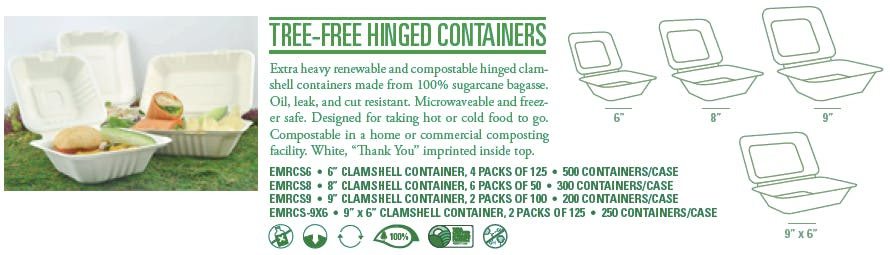 "Other size options - 6"" x 6"" Tree-free, compostable hinged take-out containers - sold by Emerald Brand"