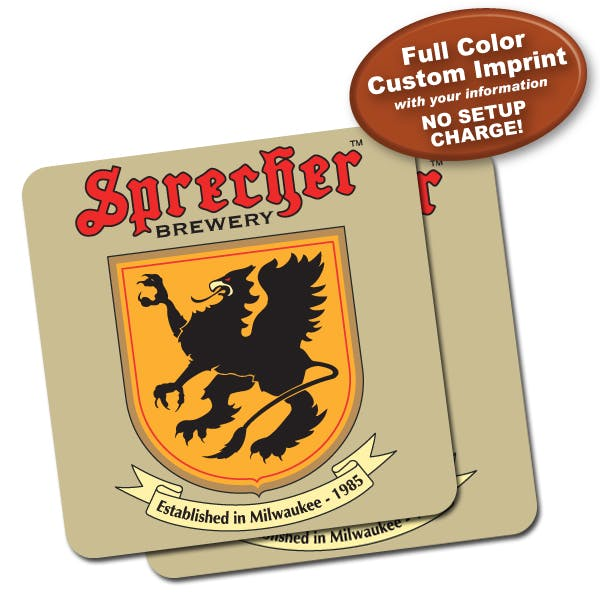 3 1/2 in Square Full Color Coaster: 2 Sided (40pt)