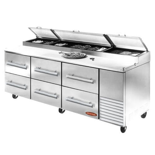 "Universal PP96SC-6 - 96"" Pizza Prep Table W/ Drawers Food prep table sold by Elite Restaurant Equipment"