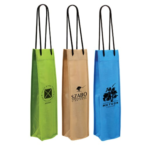 Single Wine Bottle Bag (Item # JEJJO-HLFAZ) Wine bag sold by InkEasy