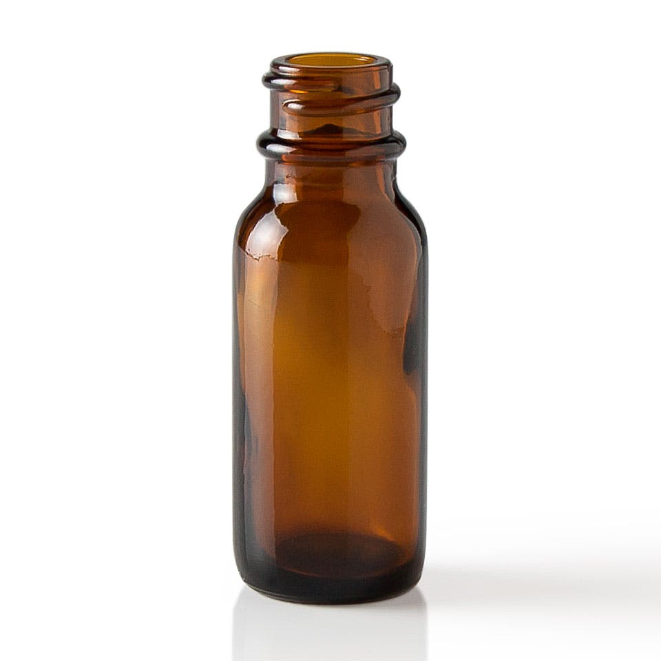 0.5 oz Amber Glass Boston Round Bottle - sold by Packaging Options Direct