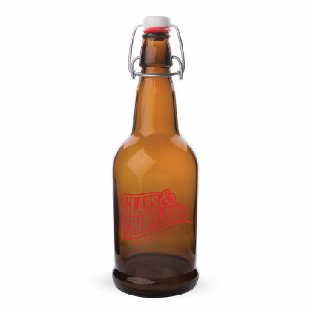 16 oz EZ Cap Amber Growler sold by Glass and Growlers