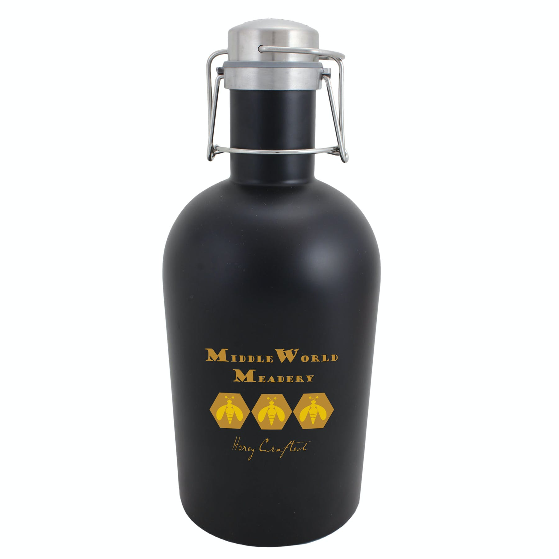 64 Oz. Black Stainless Steel Growler (Item # FGION-JYNBA) Growler sold by InkEasy