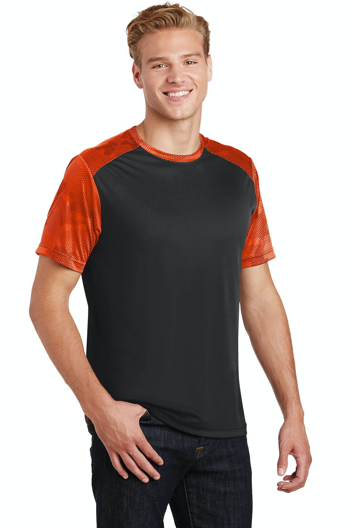 Sport-Tek® CamoHex Colorblock Tee - sold by PRINT CITY GRAPHICS, INC