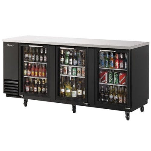 Turbo Air TBB-4SG Back Bar Cooler, Three Section, Glass Doors, 90 Inches Wide Back bar cooler sold by Mission Restaurant Supply