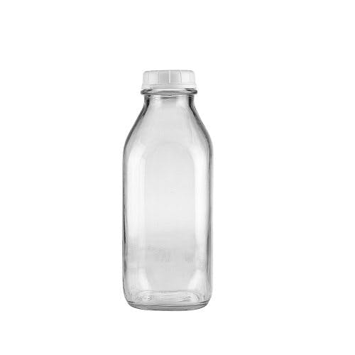 33 oz Clear Glass Milk Bottles (Optional White Tamper-Evident Cap) Glass bottle sold by Freund Container & Supply