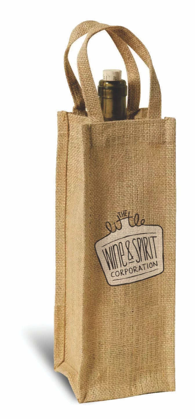 Burlap Wine Tote Recycled and Eco Friendly Promotional Item sold by Casa Amarosa