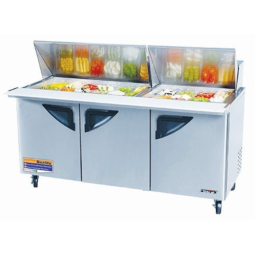 "Turbo Air TST-72SD-30 - Sandwich Prep Table - Mega-Top 3 Doors 72.75"" Food prep table sold by Elite Restaurant Equipment"