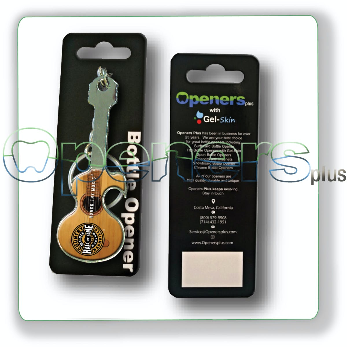 Guitar opener with retail packaging Bottle opener sold by Openers Plus